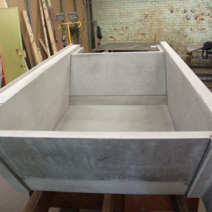 This tub, created by Stone Soup Concrete, was assembled in their shop in western Massachusetts.