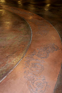 Designing Decorative Concrete - design that has been stained and embossed into the concrete.
