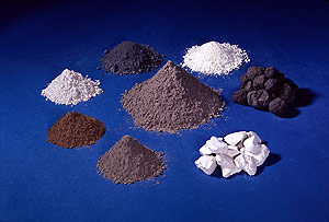 Clockwise beginning at right: clinker (ground to become the main ingredient of portland cement), gypsum (included in portland cement in small amounts), portland cement, fl y ash, slag, silica fume, and calcined clay (metakaolin). In the center is blended cement, which contains at least one pozzolan. Image courtesy of Portland Cement Association.