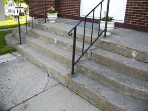 The concretes steps before any restoration has even begun.