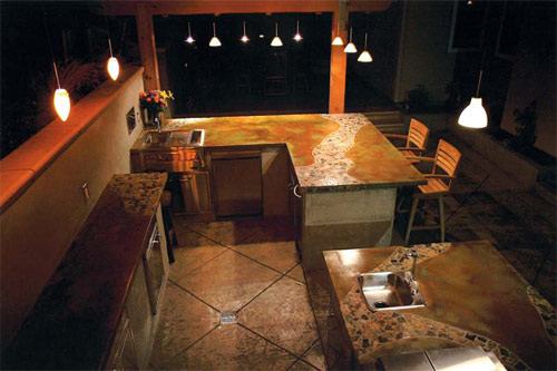 Countertops, First Place: Tom Ralston Concrete, Santa Cruz, Calif. Magid Patio, Steps and Walls, Aptos, Calif.
