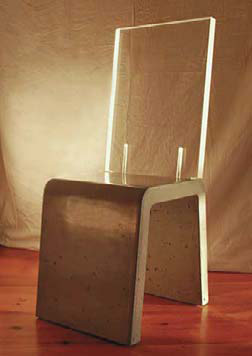 Furniture: Michael Littlefield, Melange Studio, Kennebunk, Maine  hair with formed concrete base and fitted piece of lucite on back