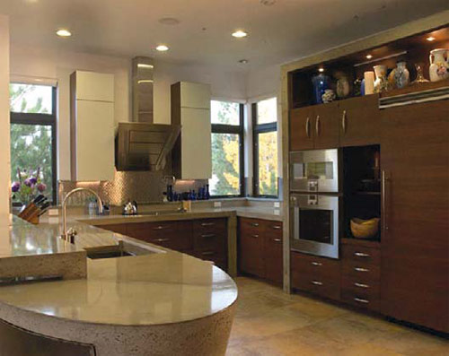 Interior Kitchen: Sean Dunston, Concrete Jungle Design, Colorado Springs, Colo. Kitchen pieces (total weight: 3,775 pounds)