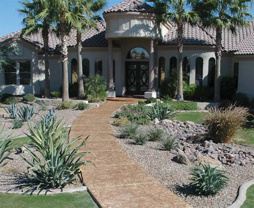 This walkway in the Phoenix, Ariz., area was created with Ultracrete2k, a stampable, trowelable overlay from GST International. The overlay can be used in both interior and exterior applications.