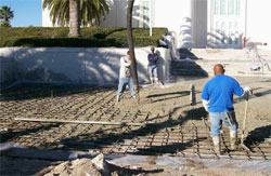 Patio During Decorative Concrete Construction repair.