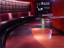 polished concrete in a waiting area of a high-end club