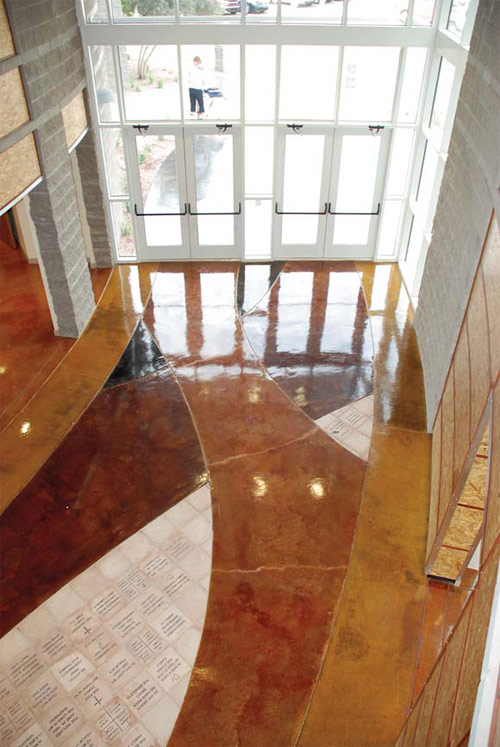 Water-based dye from Arizona Polymer were used on this concrete floor in a church.