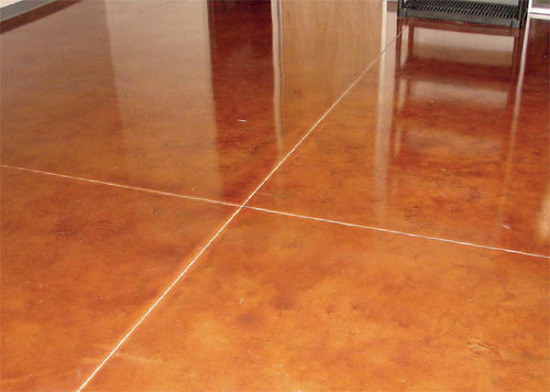 Hugh Monteith, of Ventura, Calif., created this floor with CF-630 Amber in the Old World Stain series, an acid alternative from Smith Paint Products.