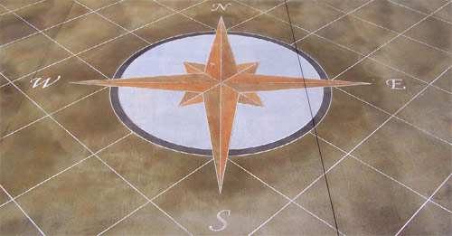 Concrete Wizard made this patio for NFL Hall of Famer Larry Csonka using five SimStain colors: Mahogany, Olive, Black, Silver and Tangerine. Photo courtesy of Concrete Wizard