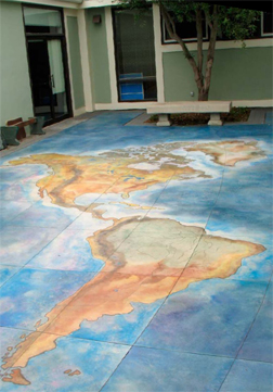 Decorative Concrete Map made with stained concrete - North and South America