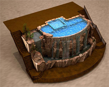 3D Render of Concrete Waterfalls - his conceptual rendering of a residential pool with a 30-foot infinity edge waterfall was created by Lakeland Co. for a Sandpoint, Idaho, client using 3-D computer modeling software.
