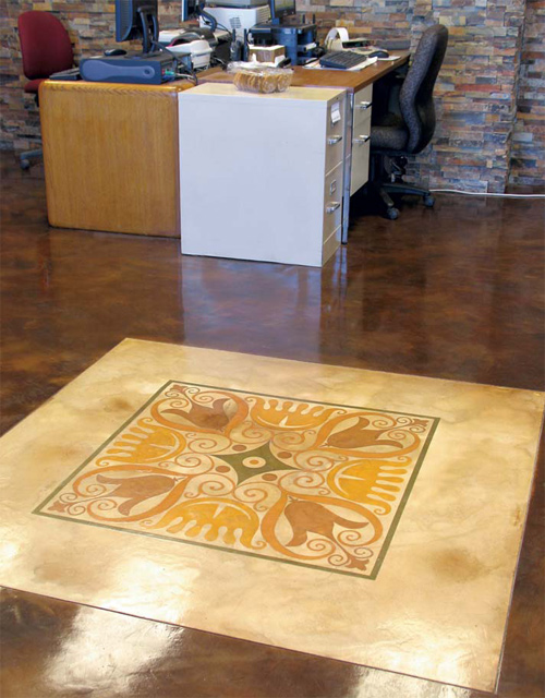 Concrete Stencil made by graphetto that when paired with Xcel's stains gives a stunning look to any floor.