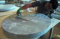 applying sealer to a concrete countertop