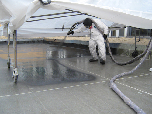 Spray on Waterproofing. Some pool bottoms use fiberglass for its smooth feel, and larger water features and slides also use it for its lightweight strength and ability to make stand alone complimentary and supplemental water features in and around pools.