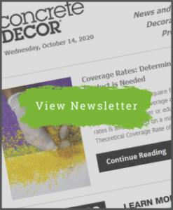 Concrete Decor Newsletter - October 14, 2020 - Newsletter