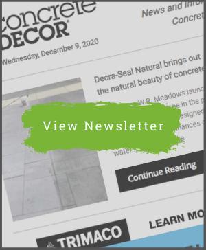 Concrete Decor Newsletter - December 11, 2020