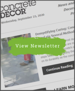 Concrete Decor Newsletter - September 23, 2020 - Newsletter