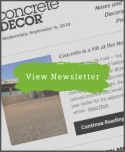 Concrete Decor Newsletter - September 9, 2020 - Newsletter