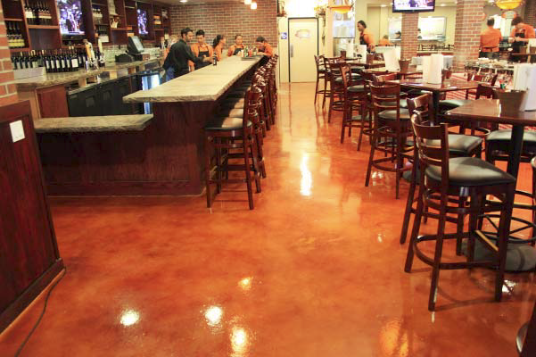 For the restaurant's floor, slip resistance was as much of a factor as color vibrancy was.