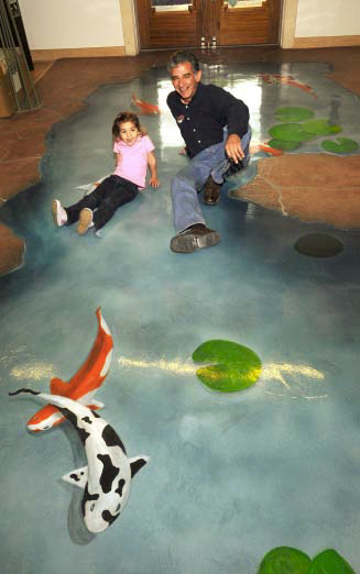 Julio Hallack applied the Miracote product to the entry way of the museium where a Koi pond has been created.