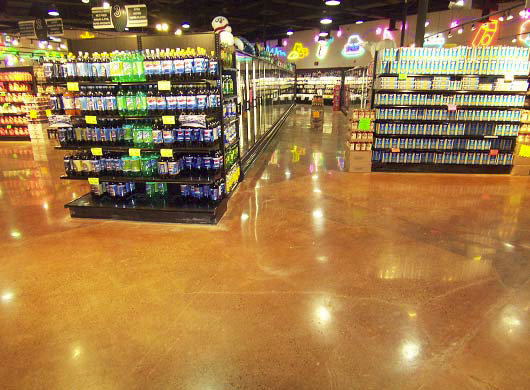 Concrete stained floor in a grocery store.