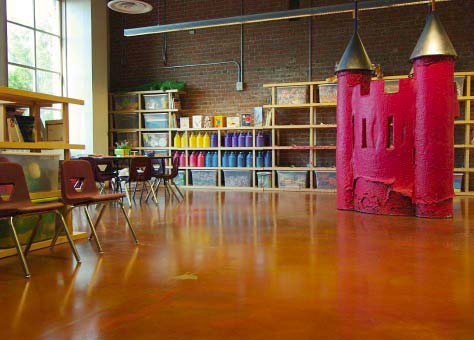 The classroom space was transformed with the use of concrete stains.