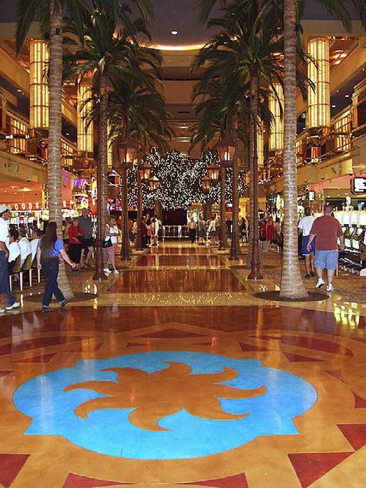 A stained design in the middle of a casion on Atlantic City, N.J.