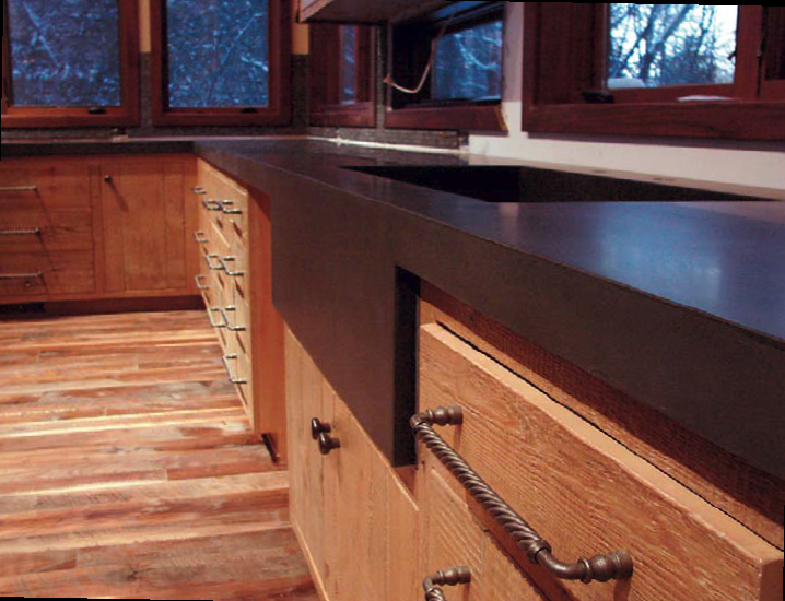 Troy Thompson, of Des Moines, Iowa, crafted this countertop with a sprayed-on face coat. Photo by Troy Thompson