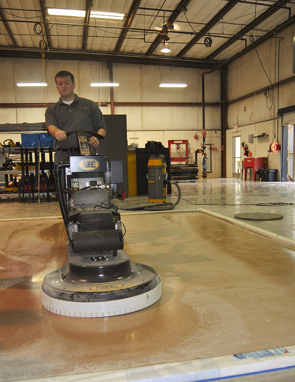 Surface preparation equipment manufacturer SASE Co. routinely tests different machines on polishable overlays at its East Coast headquarters in Knoxville, Tenn., to find out which diamonds work best in which sequence.