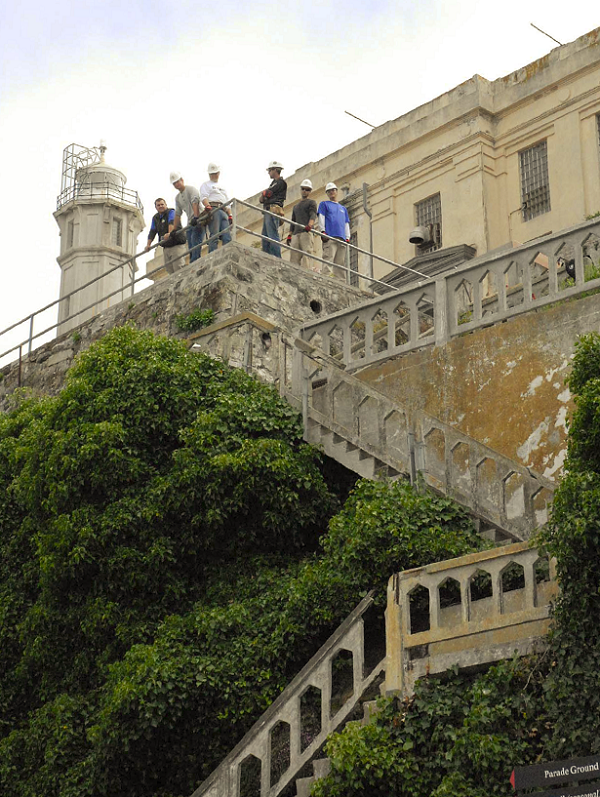 Historic puppy stairs at Alcatraz Island in California. CIM students participated in a renovation project there last summer.