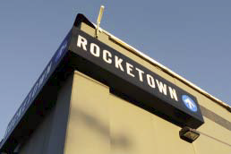 Rocketown logo on the side of their building.