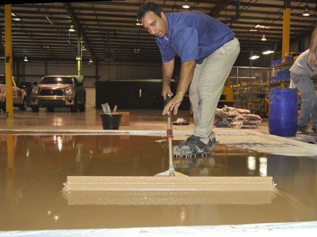 Before the polishing process can begin, an overlayment must be properly raked and spread.