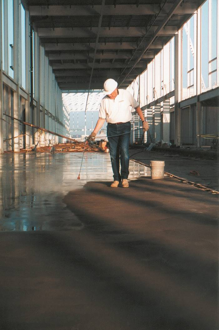 Use airless spray applications to apply densifiers to concrete. Densifiers make cleaning up a sidewalk eaisier.