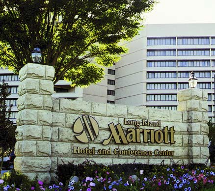 The Long Island Marriott Hotell and Conference Center sign was created out of form liners and concrete to achieve this high-end look.
