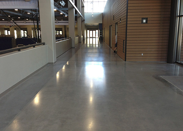 A polished concrete lobby adds a clean, sophisticated element to any building.