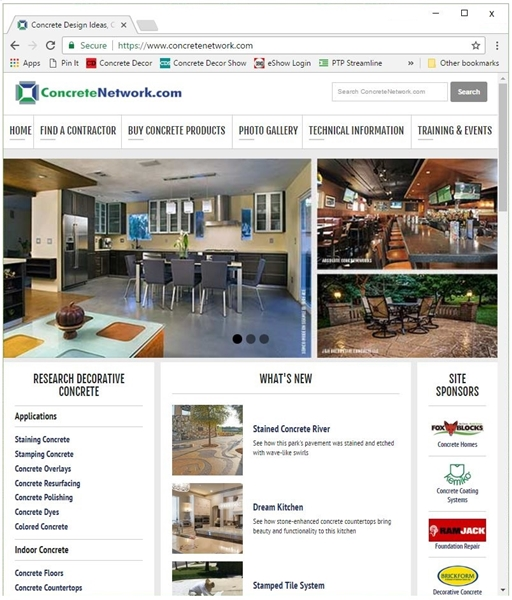 ConcreteNetwork.com's website shows various ideas and technical information for contractors and homeowners.