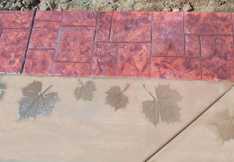 The leaves you see here, for example,came from a tree nearby and the imprints were arranged to form a second border to highlight the patio area.