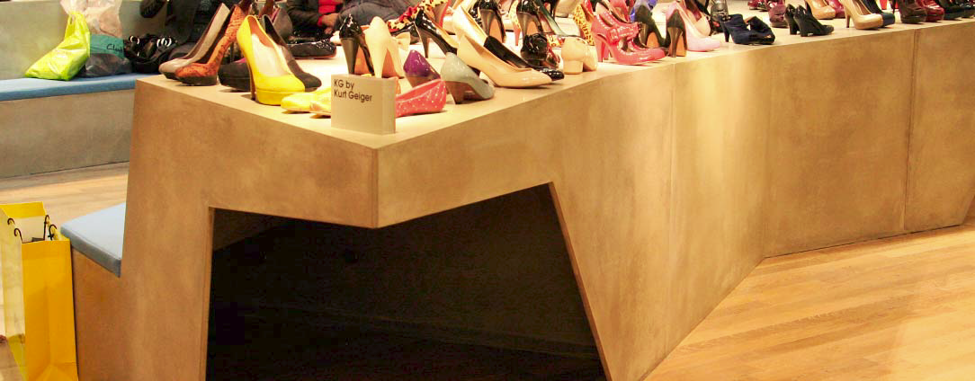 The pieces arrived in London in perfect condition and were assembled for placement in the largest shoe gallery.