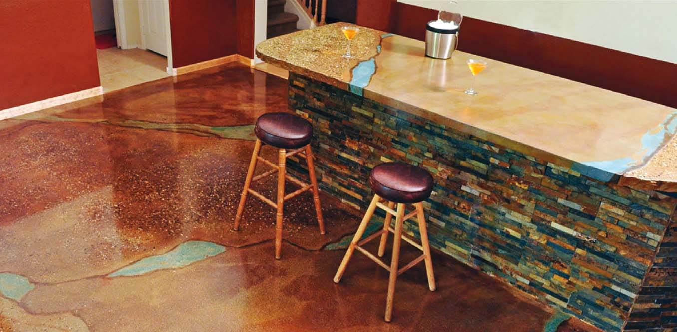 Mike Meredith, who created this matching bar and floor, took on countertop and kitchen work when business slowed at his artificial-rock and waterfall business. Photo by Bruce D. Kaplan