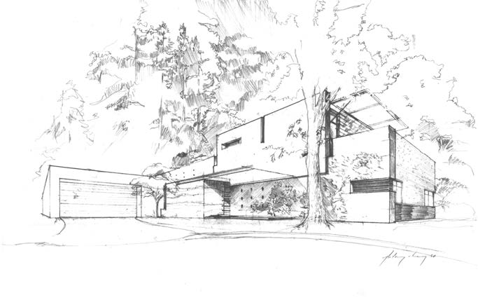 Pencil sketch of Cheng Design House 6 Image copyright Cheng Design