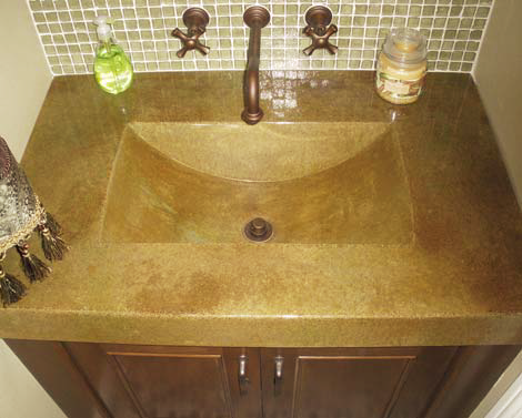 Integral sink in a concrete vanity.
