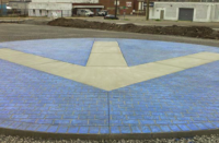 Rockettown logo on a parking lot