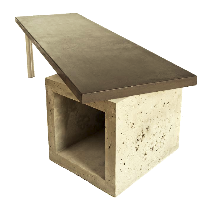 A concrete bench with a square concrete base.