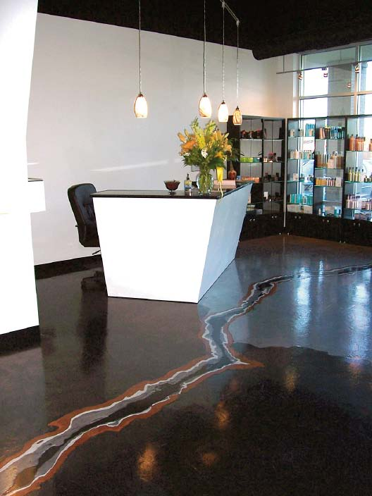 Salon epoxy floor with a vein of color crack.