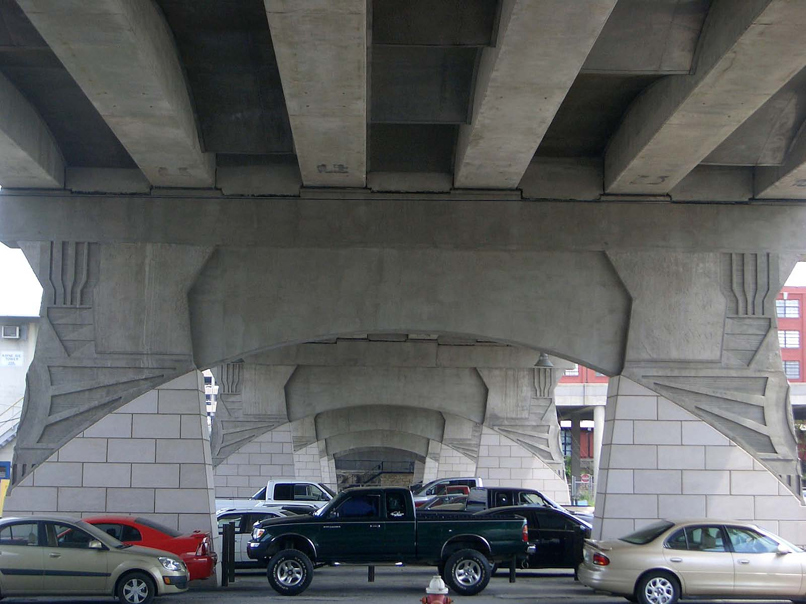 The 774-foot-long, three-lane Demonbreun Street Viaduct in Nashville, Tenn., pays homage to the city's railroad heritage by displaying locomotive engine motifs on its poured-in-place concrete support piers.