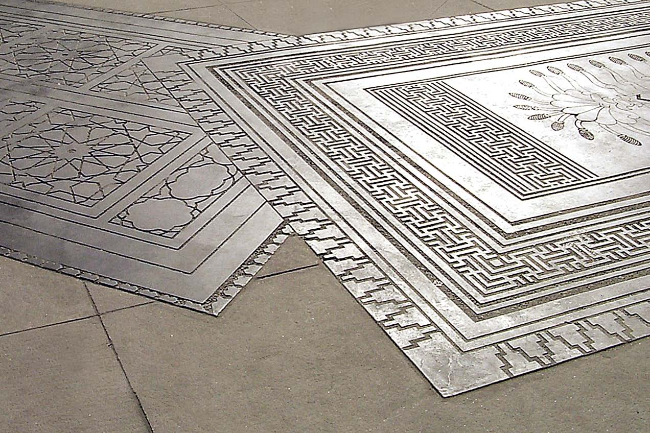 Metal stencils for concrete floors or walls.
