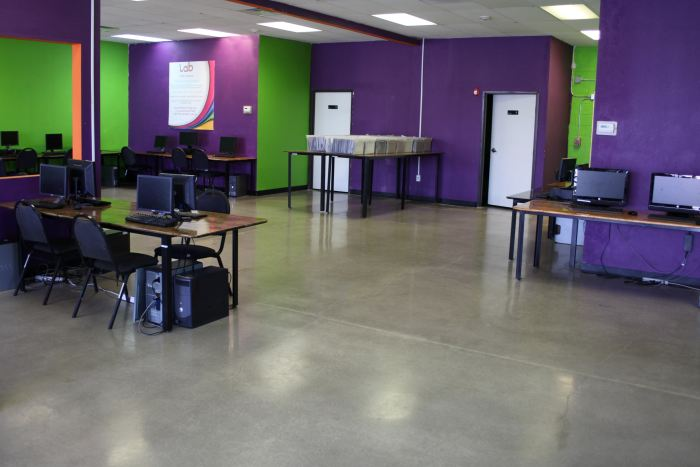 A classroom in Compass High School that has been polished as part of the school program teaching decorative concrete to students.