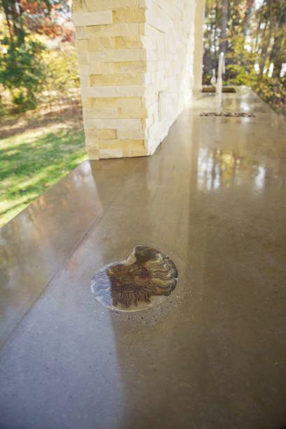 Shell detail in an outdoor kitchen countertop.