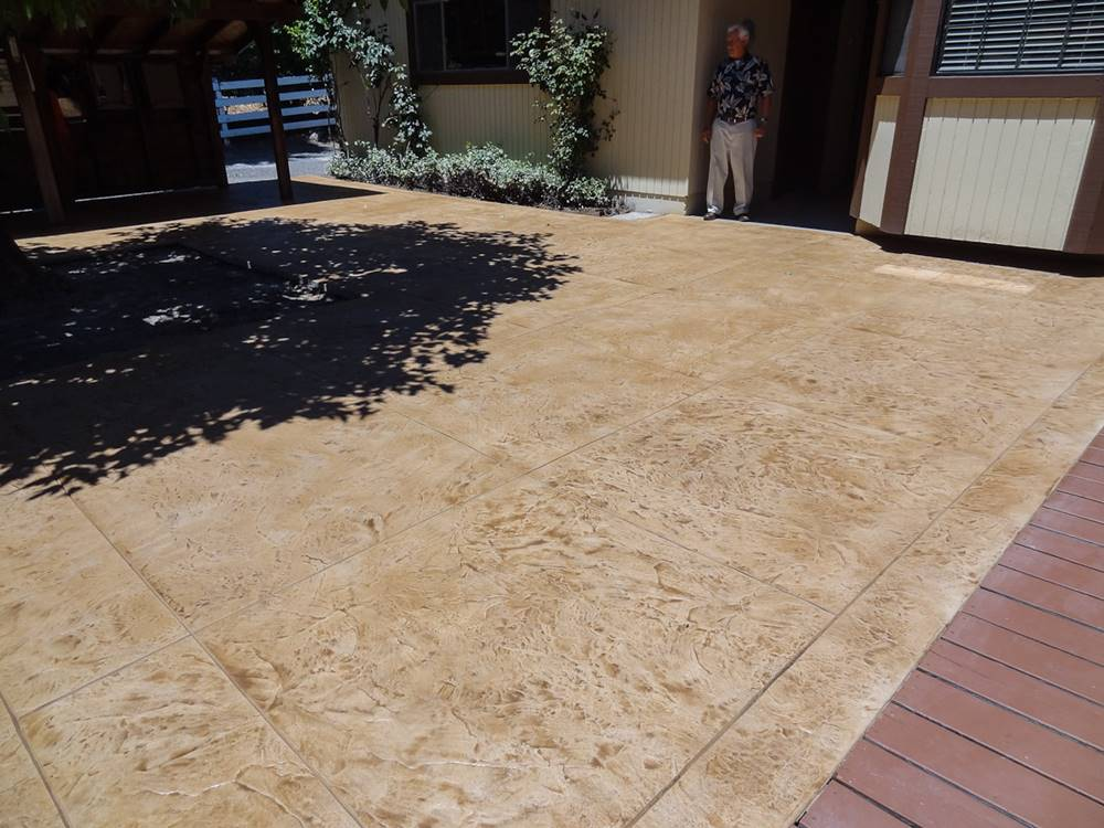 A fully repaired concrete patio using The Concrete Staple