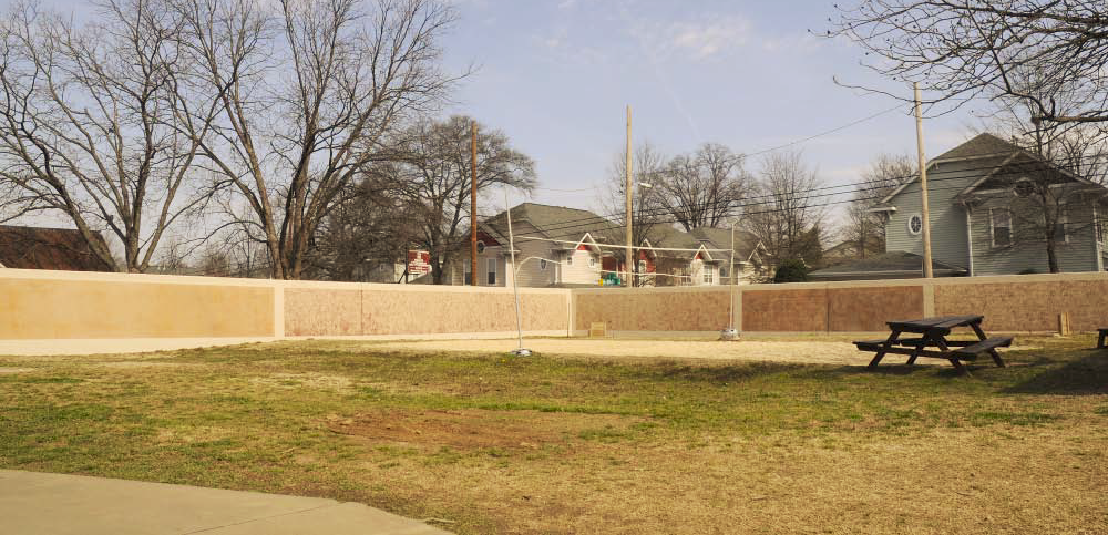 A look at the completed concrete wall surrounding the rescue mission.